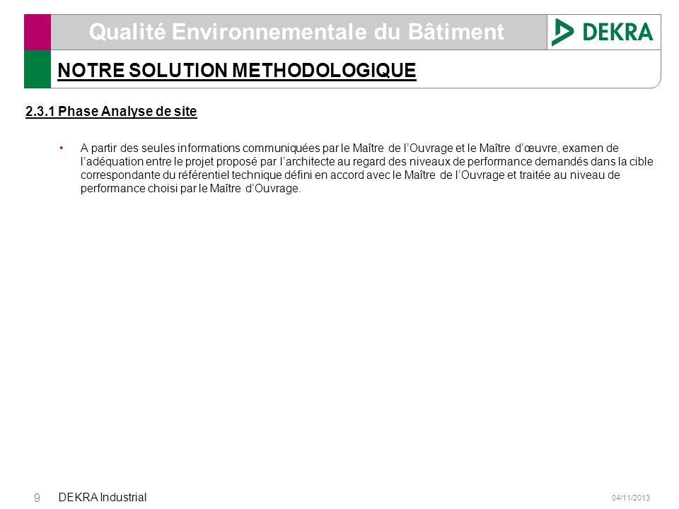 04/11/2013 DEKRA Industrial 9 Qualité Environnementale du Bâtiment NOTRE SOLUTION METHODOLOGIQUE 2.3.1 Phase Analyse de site A partir des seules infor