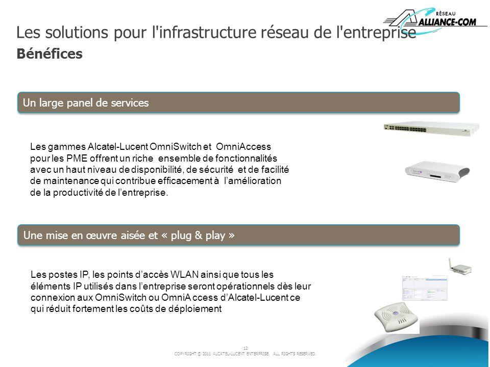 12 COPYRIGHT © 2011 ALCATEL-LUCENT ENTERPRISE. ALL RIGHTS RESERVED. Les solutions pour l'infrastructure réseau de l'entreprise Bénéfices Les gammes Al
