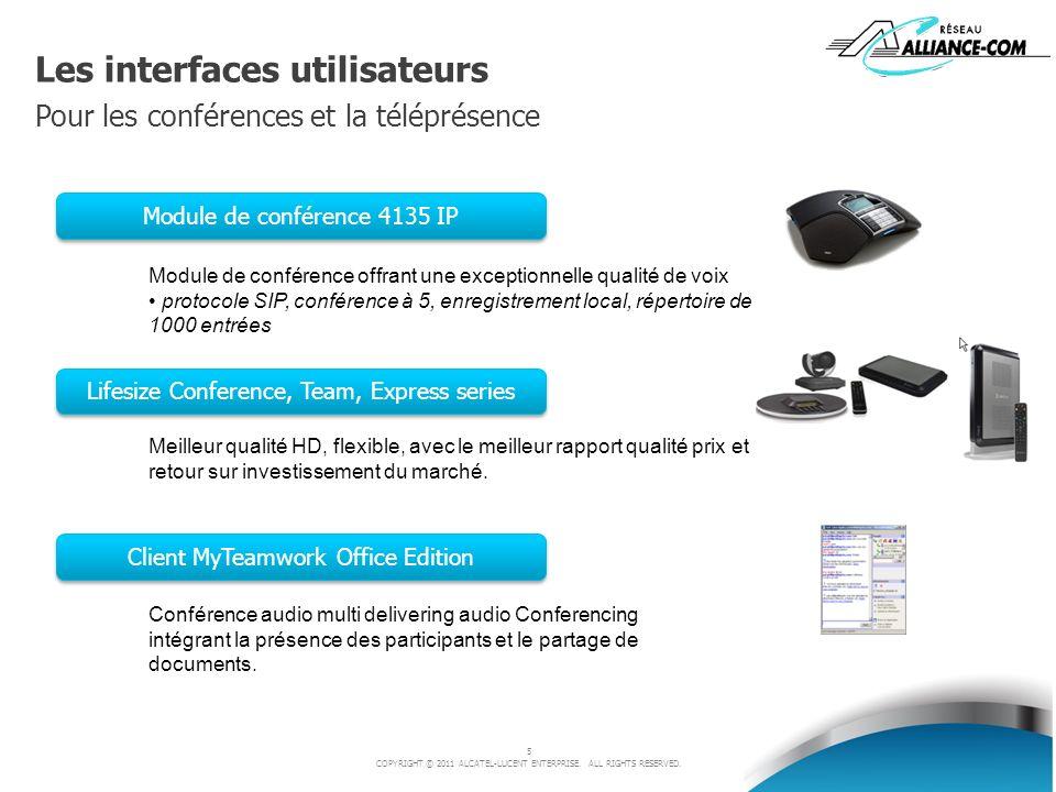 5 COPYRIGHT © 2011 ALCATEL-LUCENT ENTERPRISE. ALL RIGHTS RESERVED. Les interfaces utilisateurs Pour les conférences et la téléprésence Lifesize Confer