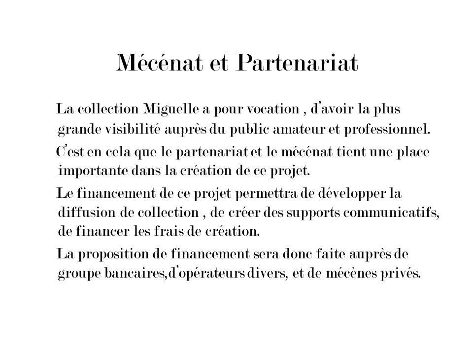 Mécénat et Partenariat La collection Miguelle a pour vocation, davoir la plus grande visibilité auprès du public amateur et professionnel. Cest en cel