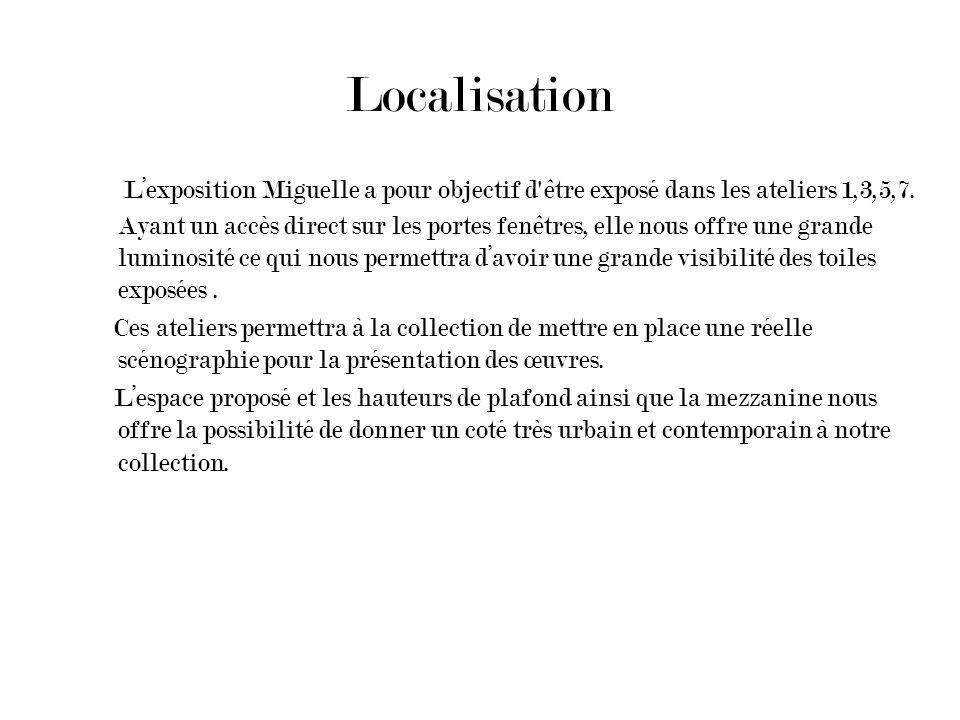 Localisation Lexposition Miguelle a pour objectif d'être exposé dans les ateliers 1,3,5,7. Ayant un accès direct sur les portes fenêtres, elle nous of