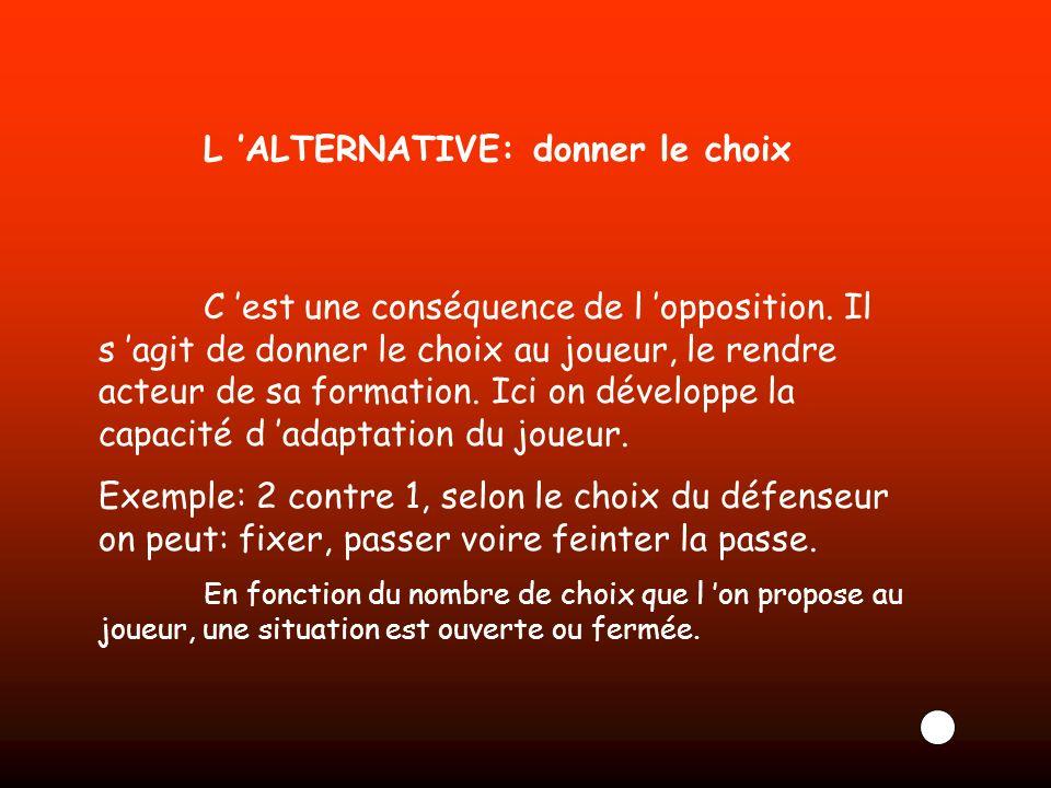 L ALTERNATIVE: donner le choix C est une conséquence de l opposition. Il s agit de donner le choix au joueur, le rendre acteur de sa formation. Ici on