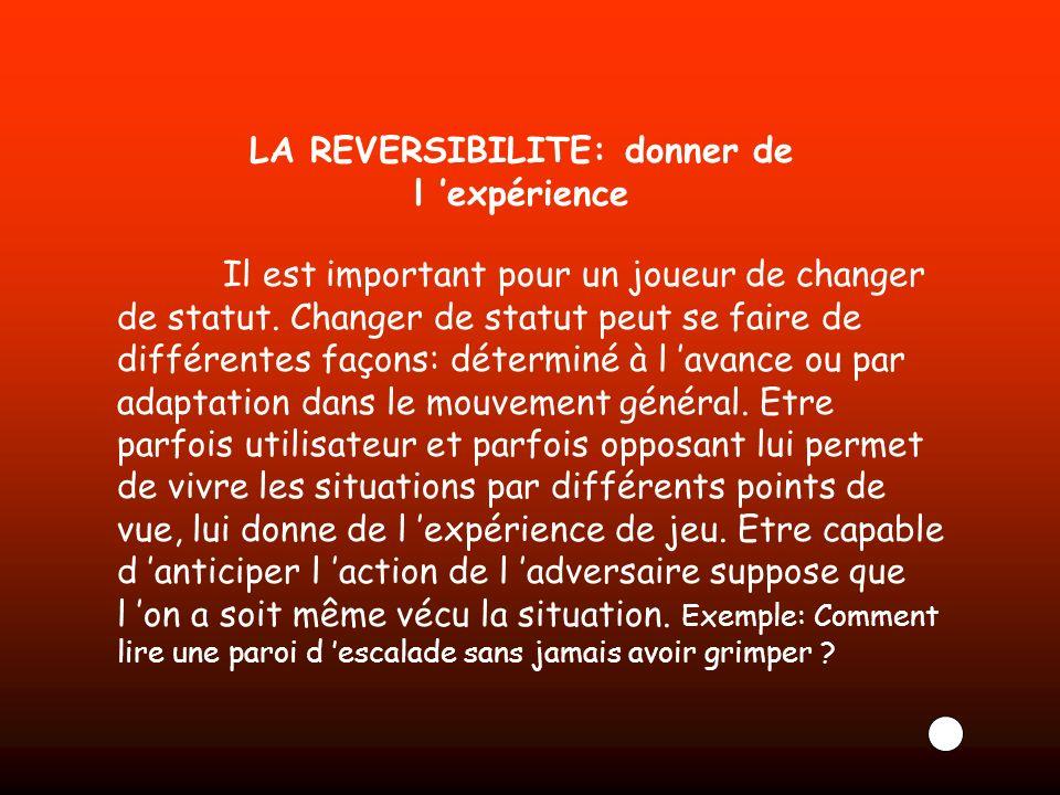LA REVERSIBILITE: donner de l expérience Il est important pour un joueur de changer de statut. Changer de statut peut se faire de différentes façons: