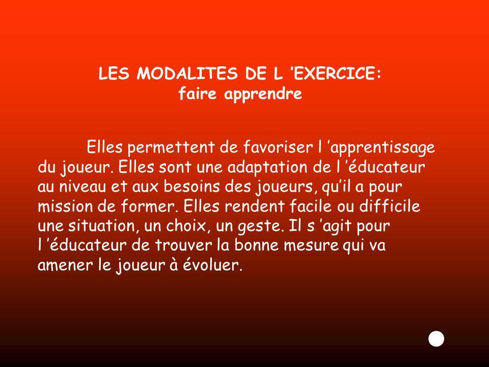 LES MODALITES DE L EXERCICE: faire apprendre Elles permettent de favoriser l apprentissage du joueur. Elles sont une adaptation de l éducateur au nive