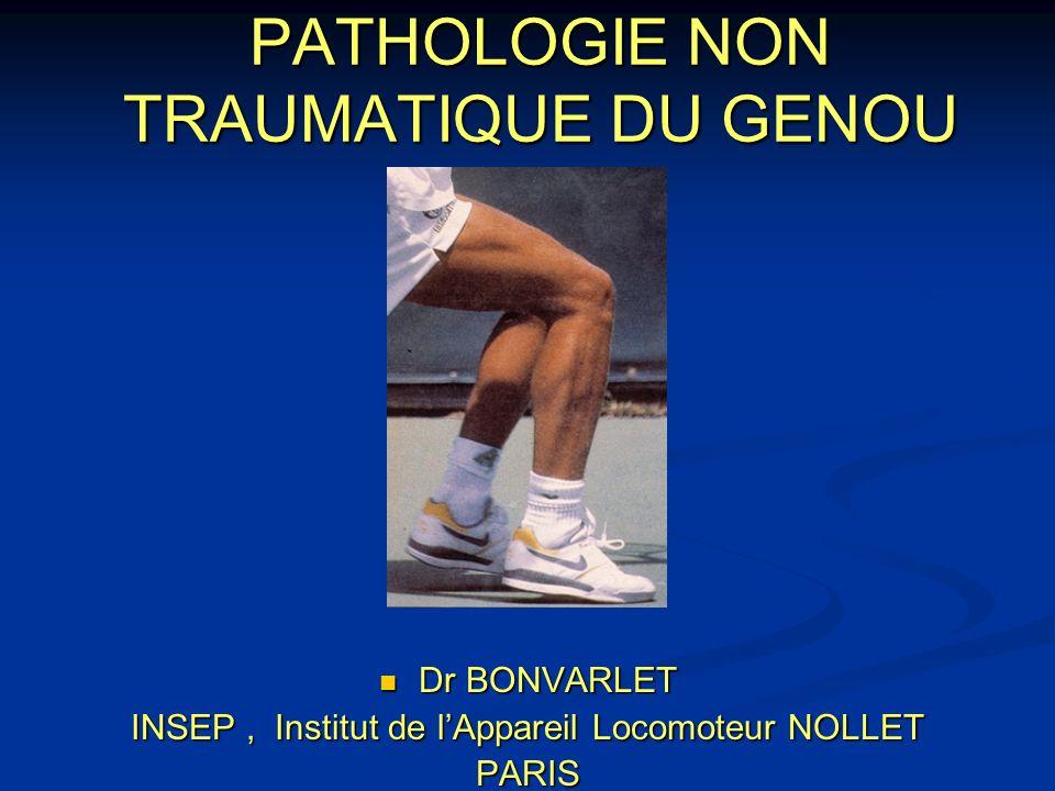PATHOLOGIE NON TRAUMATIQUE DU GENOU Dr BONVARLET Dr BONVARLET INSEP, Institut de lAppareil Locomoteur NOLLET PARIS