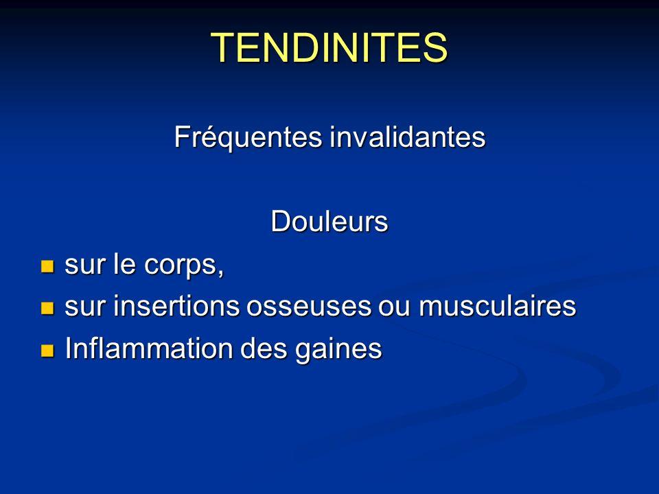 TENDINITES Fréquentes invalidantes Douleurs sur le corps, sur le corps, sur insertions osseuses ou musculaires sur insertions osseuses ou musculaires