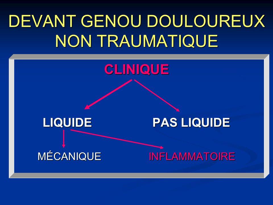 TENDINITE QUADRICIPITALE Clinique Clinique Douleur antérieure ou antéro-externe En isométrie et/ou étirement passif Palpation