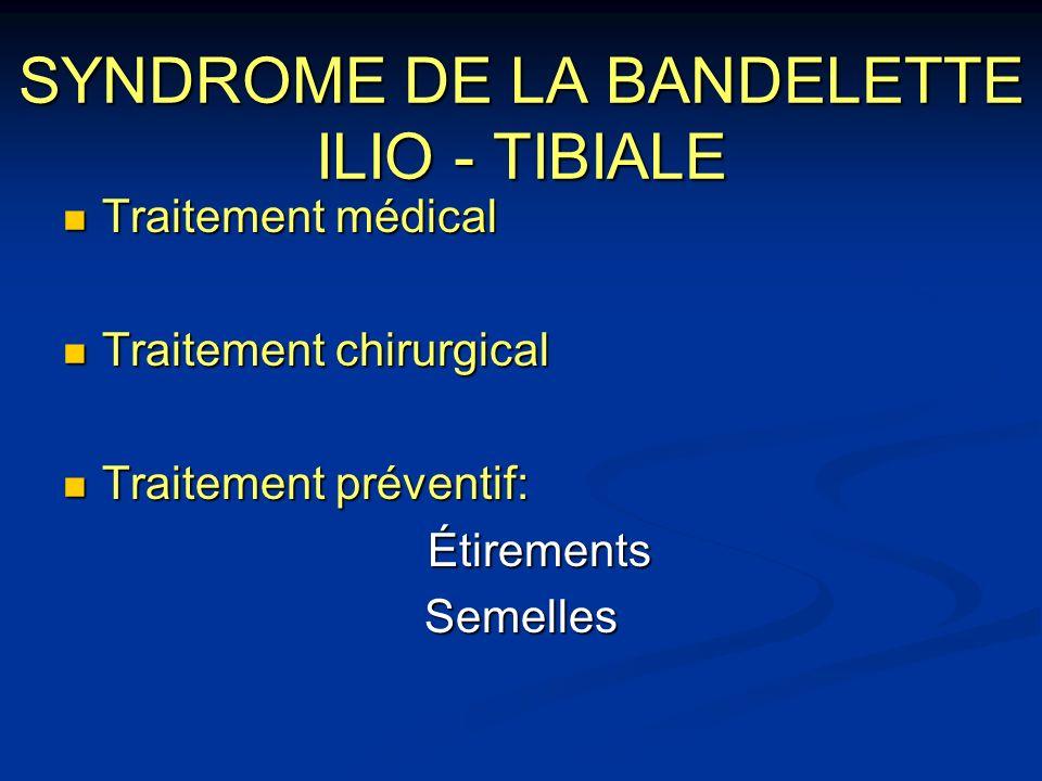 SYNDROME DE LA BANDELETTE ILIO - TIBIALE Traitement médical Traitement médical Traitement chirurgical Traitement chirurgical Traitement préventif: Tra
