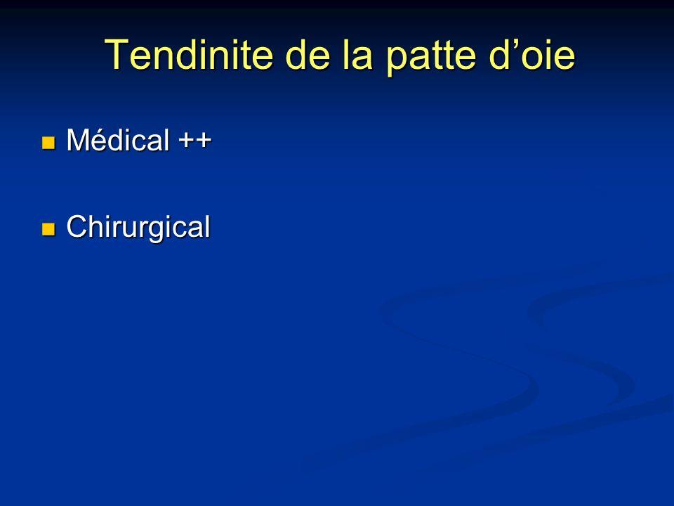 Tendinite de la patte doie Médical ++ Médical ++ Chirurgical Chirurgical