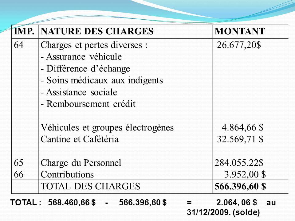 IMP.NATURE DES CHARGESMONTANT 64 65 66 Charges et pertes diverses : - Assurance véhicule - Différence déchange - Soins médicaux aux indigents - Assist