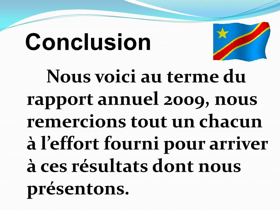 Nous voici au terme du rapport annuel 2009, nous remercions tout un chacun à leffort fourni pour arriver à ces résultats dont nous présentons. Conclus