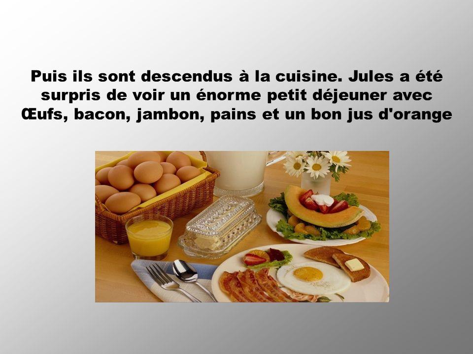 Puis ils sont descendus à la cuisine. Jules a été surpris de voir un énorme petit déjeuner avec Œufs, bacon, jambon, pains et un bon jus d'orange