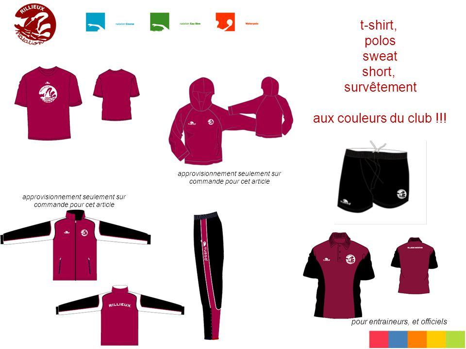 t-shirt, polos sweat short, survêtement aux couleurs du club !!! pour entraineurs, et officiels approvisionnement seulement sur commande pour cet arti