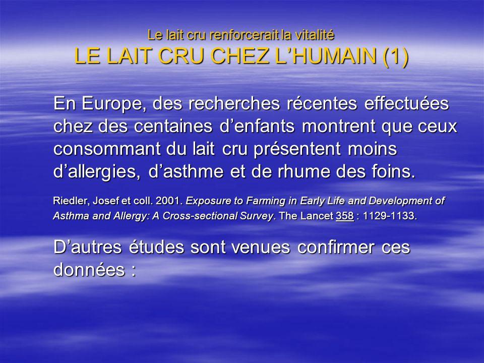 Le lait cru renforcerait la vitalité LE LAIT CRU CHEZ LHUMAIN (1) En Europe, des recherches récentes effectuées chez des centaines denfants montrent q