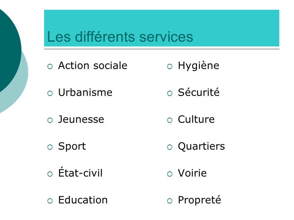 Les différents services Action sociale Urbanisme Jeunesse Sport État-civil Education Hygiène Sécurité Culture Quartiers Voirie Propreté