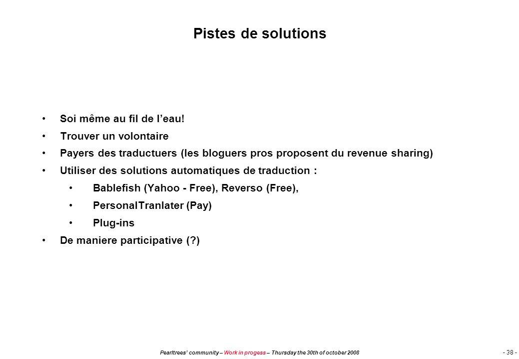 Pearltrees community – Work in progess – Thursday the 30th of october 2008 - 37 - Critères d'évaluation Impact : Référencement : référencements sur mo