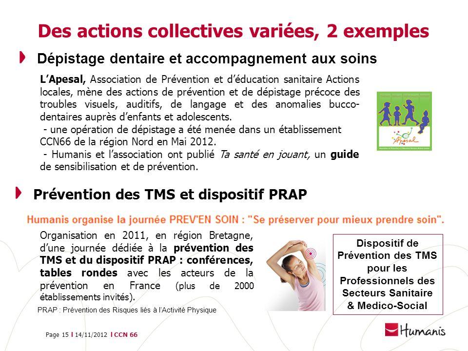 Page 15 l 14/11/2012 l CCN 66 Prévention des TMS et dispositif PRAP Des actions collectives variées, 2 exemples Dépistage dentaire et accompagnement a