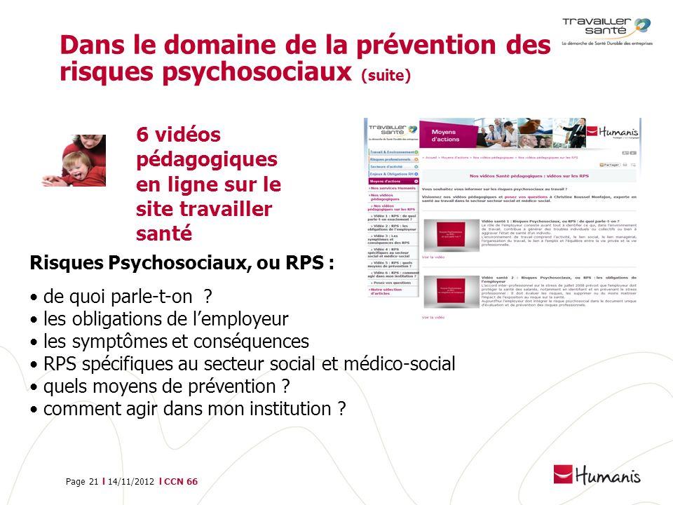 Page 21 l 14/11/2012 l CCN 66 Dans le domaine de la prévention des risques psychosociaux (suite) 6 vidéos pédagogiques en ligne sur le site travailler