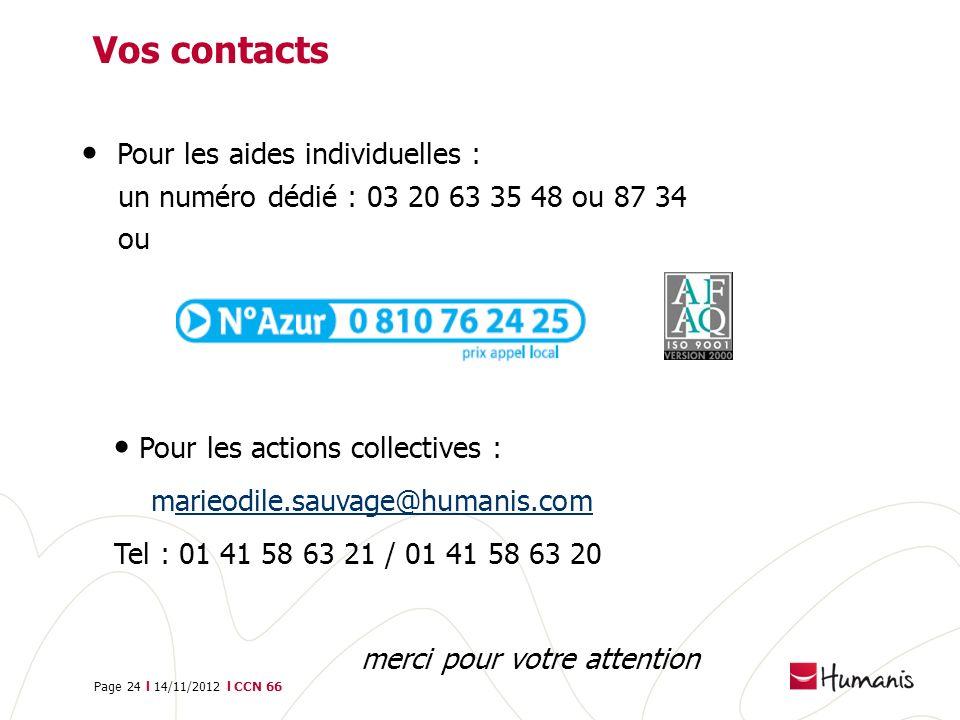 Page 24 l 14/11/2012 l CCN 66 Vos contacts Pour les aides individuelles : un numéro dédié : 03 20 63 35 48 ou 87 34 ou Pour les actions collectives :
