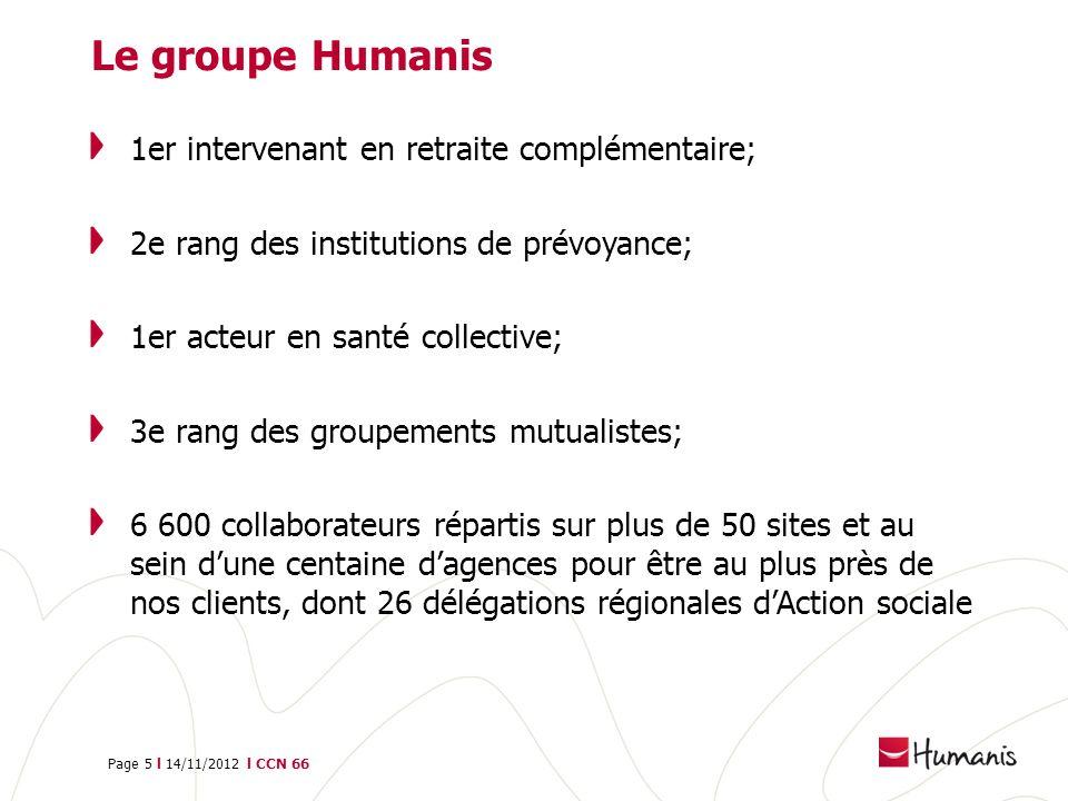 Page 5 l 14/11/2012 l CCN 66 Le groupe Humanis 1er intervenant en retraite complémentaire; 2e rang des institutions de prévoyance; 1er acteur en santé