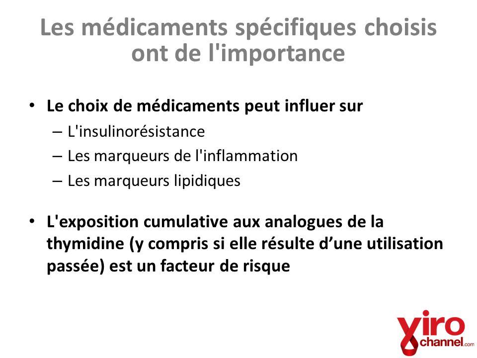 Les médicaments spécifiques choisis ont de l'importance Le choix de médicaments peut influer sur – L'insulinorésistance – Les marqueurs de l'inflammat