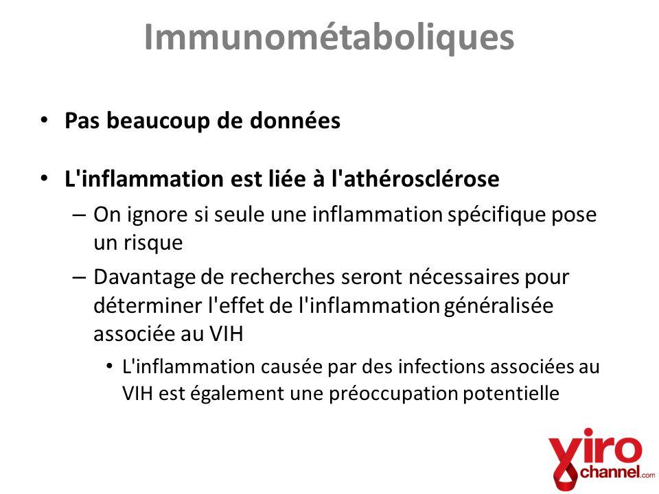 Immunométaboliques Pas beaucoup de données L'inflammation est liée à l'athérosclérose – On ignore si seule une inflammation spécifique pose un risque