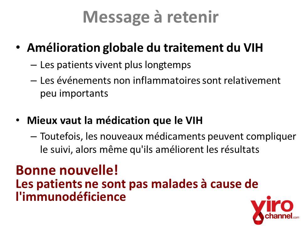 Message à retenir Amélioration globale du traitement du VIH – Les patients vivent plus longtemps – Les événements non inflammatoires sont relativement