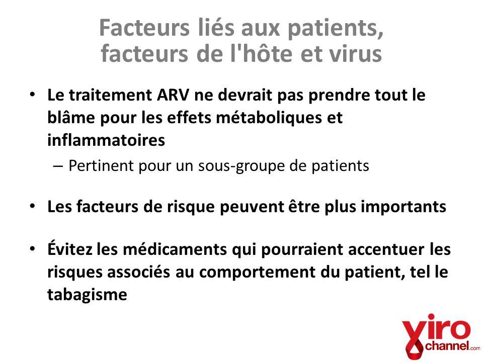 Facteurs liés aux patients, facteurs de l'hôte et virus Le traitement ARV ne devrait pas prendre tout le blâme pour les effets métaboliques et inflamm