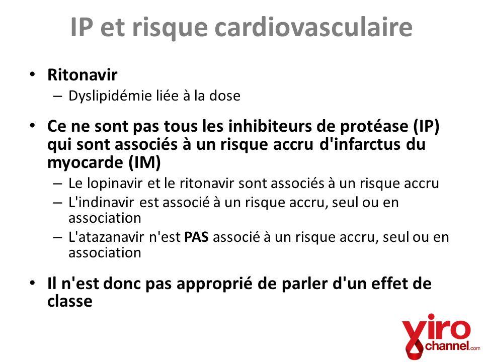 Mécanismes de l effet des IP sur les MCV Voies biologiques de l effet cardiovasculaire – Dyslipidémie – Insulinorésistance Kaletra (lopinavir + ritonavir), indinavir Le choix de l IP varie en fonction – De la facilité d utilisation – Des effets secondaires Tous les choix ne seront pas appropriés pour tous les patients