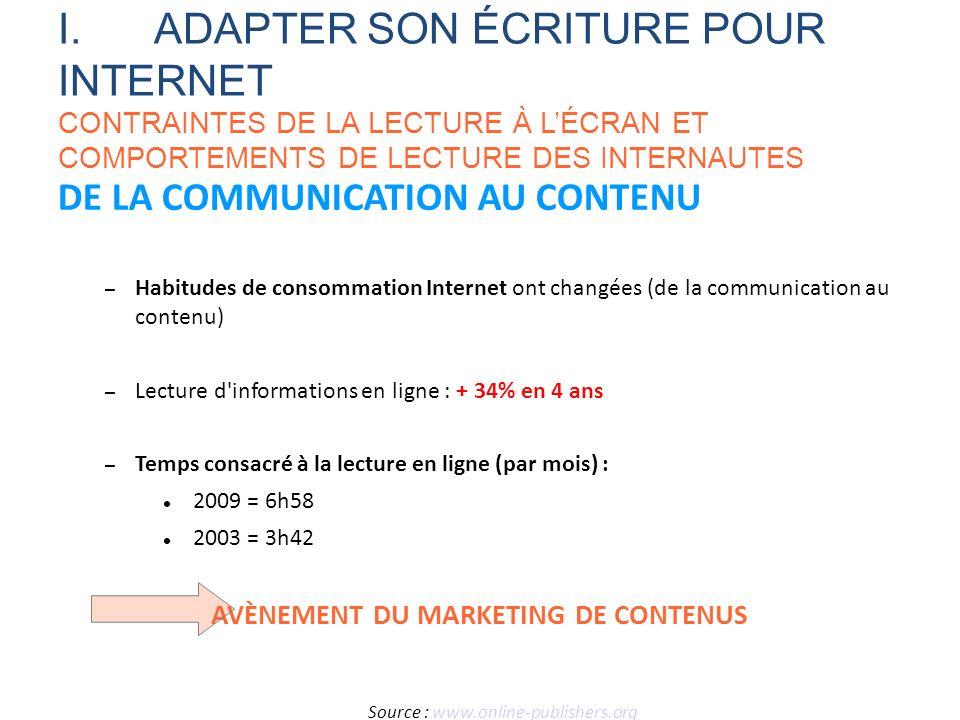 DE LA COMMUNICATION AU CONTENU – Habitudes de consommation Internet ont changées (de la communication au contenu) – Lecture d'informations en ligne :
