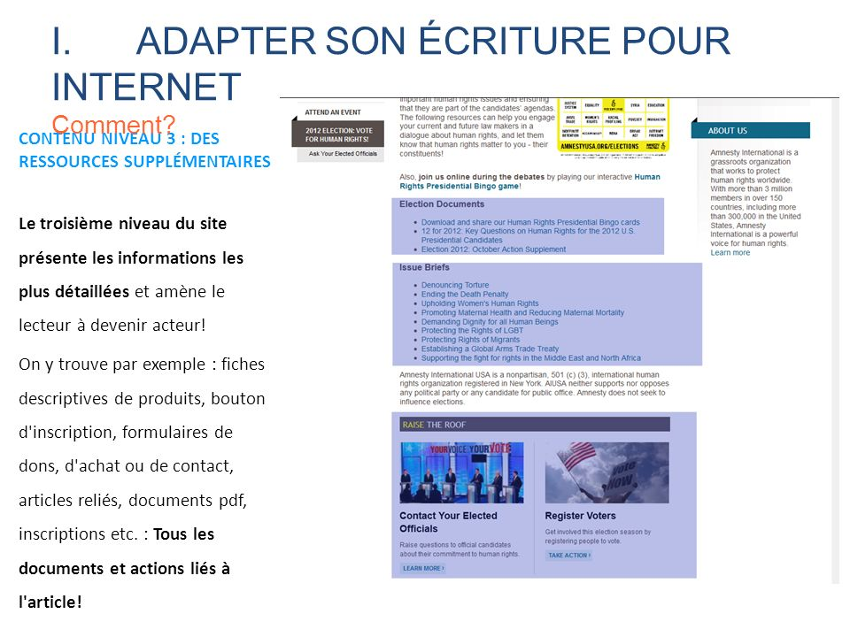CONTENU NIVEAU 3 : DES RESSOURCES SUPPLÉMENTAIRES Le troisième niveau du site présente les informations les plus détaillées et amène le lecteur à deve