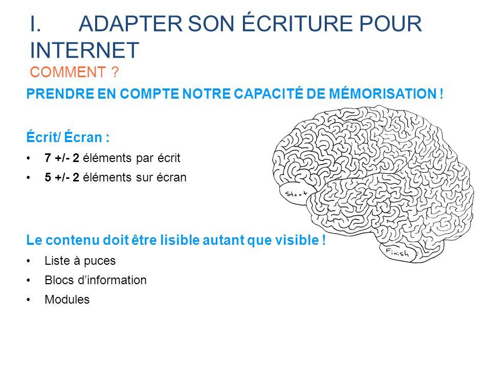 I.ADAPTER SON ÉCRITURE POUR INTERNET COMMENT ? PRENDRE EN COMPTE NOTRE CAPACITÉ DE MÉMORISATION ! Écrit/ Écran : 7 +/- 2 éléments par écrit 5 +/- 2 él