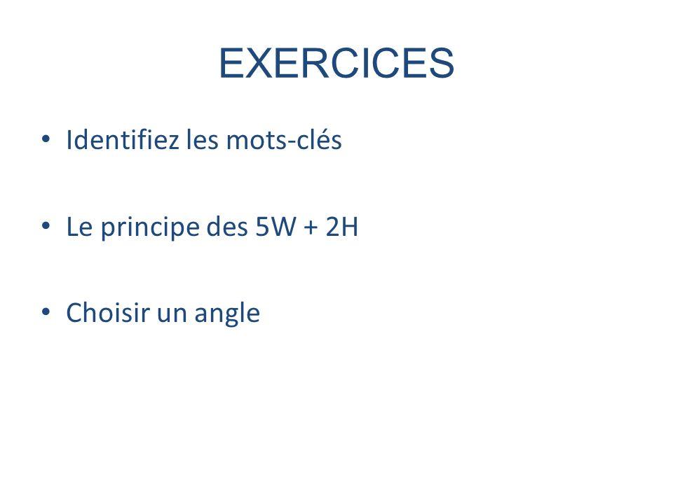 EXERCICES Identifiez les mots-clés Le principe des 5W + 2H Choisir un angle