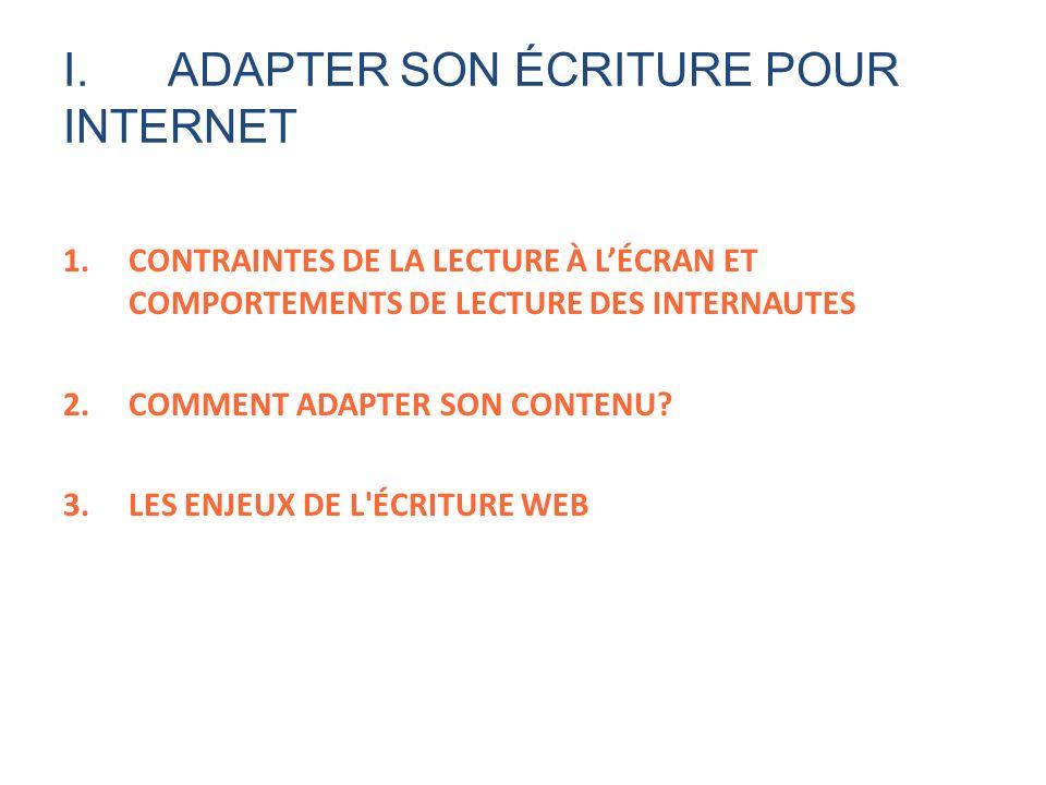 I.ADAPTER SON ÉCRITURE POUR INTERNET 1.CONTRAINTES DE LA LECTURE À LÉCRAN ET COMPORTEMENTS DE LECTURE DES INTERNAUTES 2.COMMENT ADAPTER SON CONTENU? 3