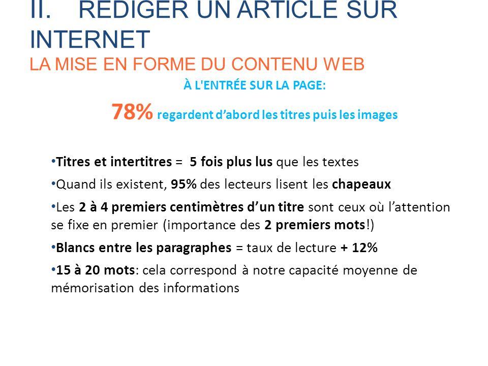 À L'ENTRÉE SUR LA PAGE: 78% regardent dabord les titres puis les images Titres et intertitres = 5 fois plus lus que les textes Quand ils existent, 95%