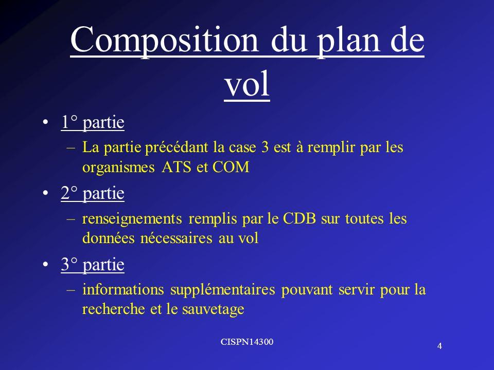 4 CISPN14300 Composition du plan de vol 1° partie –La partie précédant la case 3 est à remplir par les organismes ATS et COM 2° partie –renseignements