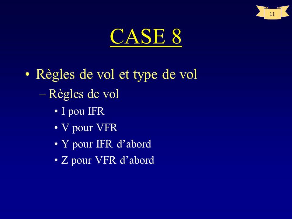 11 CASE 8 Règles de vol et type de vol –Règles de vol I pou IFR V pour VFR Y pour IFR dabord Z pour VFR dabord