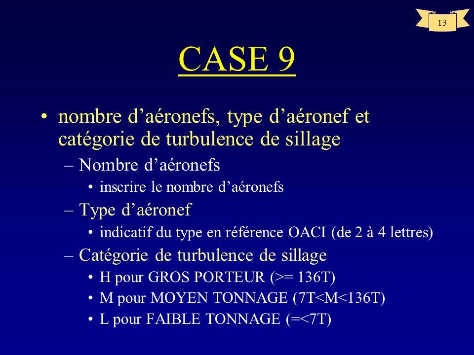 13 CASE 9 nombre daéronefs, type daéronef et catégorie de turbulence de sillage –Nombre daéronefs inscrire le nombre daéronefs –Type daéronef indicati