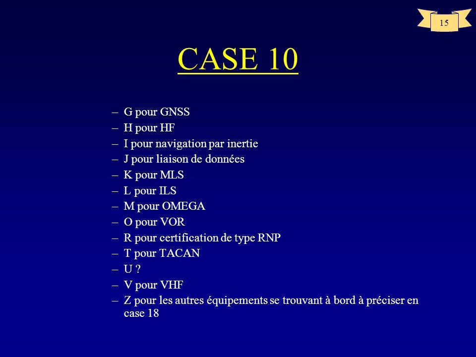 15 CASE 10 –G pour GNSS –H pour HF –I pour navigation par inertie –J pour liaison de données –K pour MLS –L pour ILS –M pour OMEGA –O pour VOR –R pour