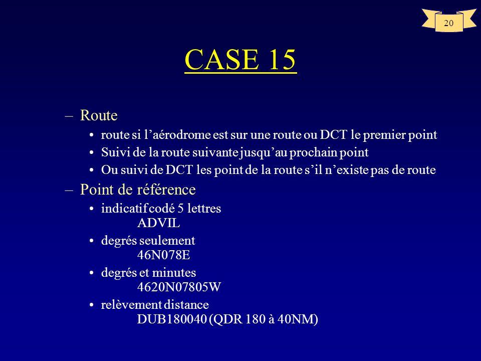 20 CASE 15 –Route route si laérodrome est sur une route ou DCT le premier point Suivi de la route suivante jusquau prochain point Ou suivi de DCT les