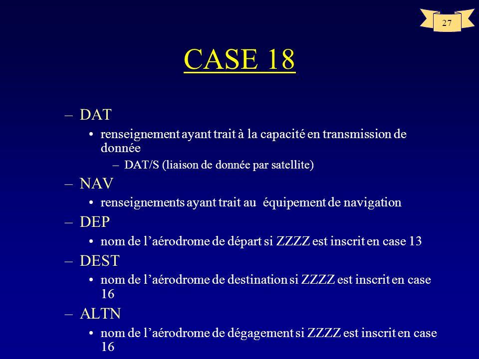27 CASE 18 –DAT renseignement ayant trait à la capacité en transmission de donnée –DAT/S (liaison de donnée par satellite) –NAV renseignements ayant t