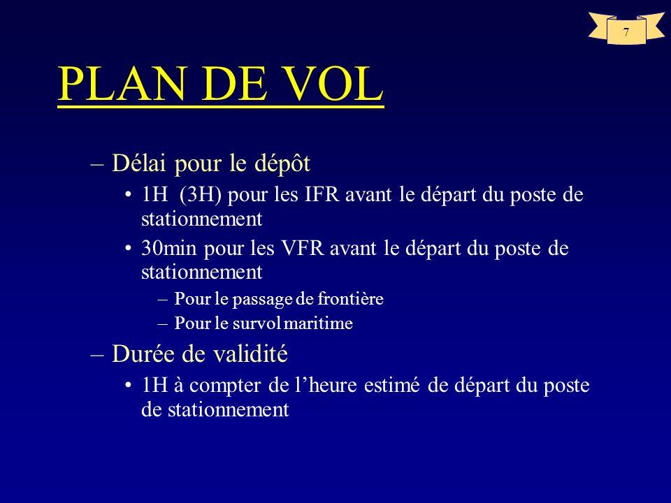 7 PLAN DE VOL –Délai pour le dépôt 1H (3H) pour les IFR avant le départ du poste de stationnement 30min pour les VFR avant le départ du poste de stati