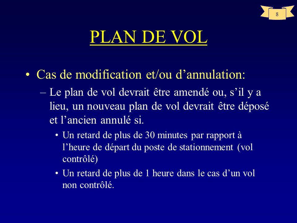 8 PLAN DE VOL Cas de modification et/ou dannulation: –Le plan de vol devrait être amendé ou, sil y a lieu, un nouveau plan de vol devrait être déposé