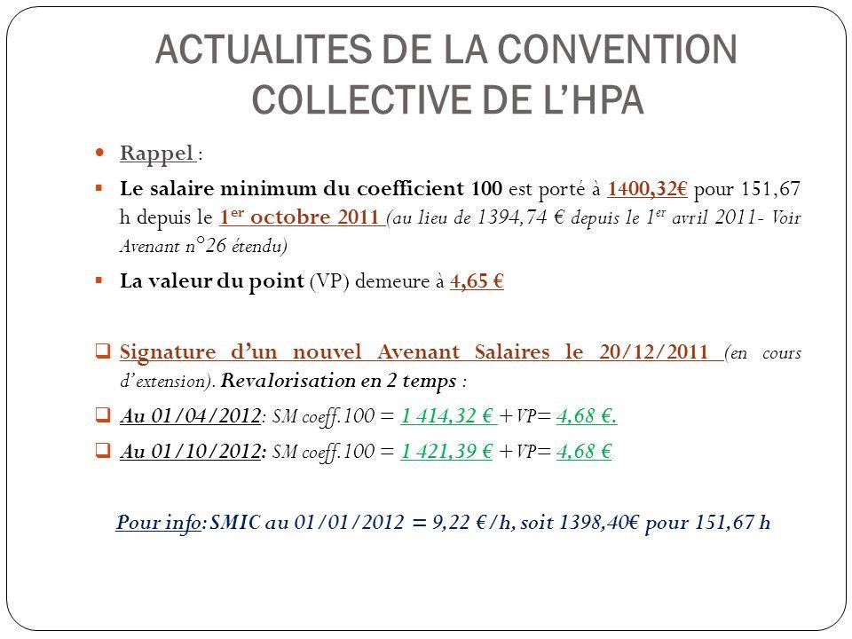 ACTUALITES DE LA CONVENTION COLLECTIVE DE LHPA Rappel : Le salaire minimum du coefficient 100 est porté à 1400,32 pour 151,67 h depuis le 1 er octobre