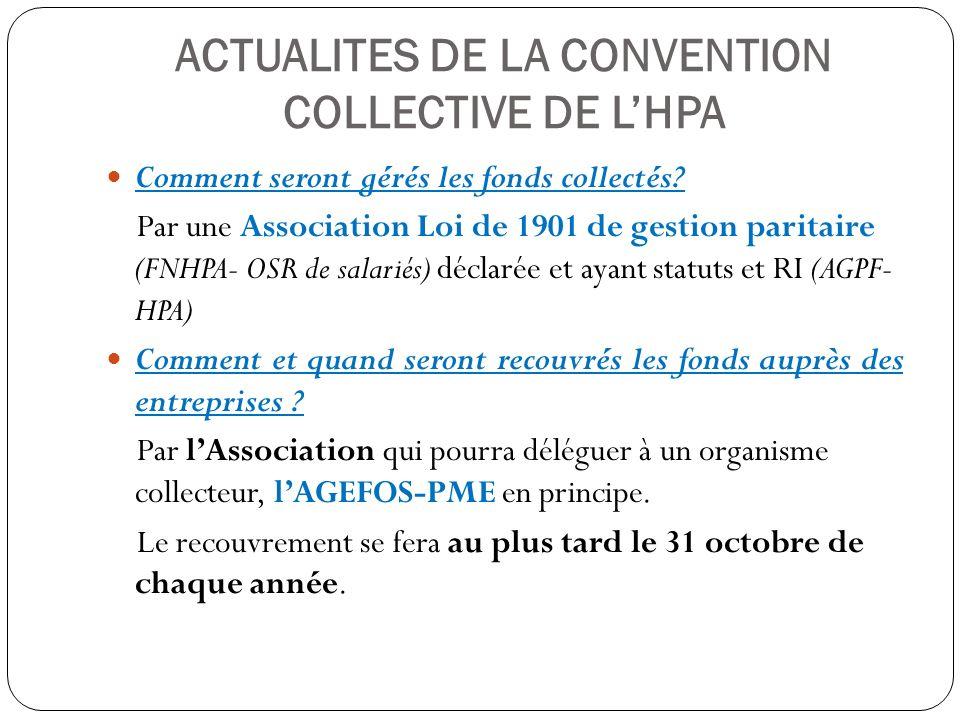 ACTUALITES DE LA CONVENTION COLLECTIVE DE LHPA Comment seront gérés les fonds collectés? Par une Association Loi de 1901 de gestion paritaire (FNHPA-