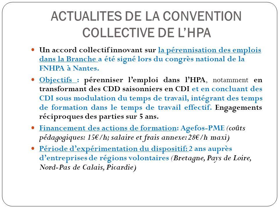 ACTUALITES DE LA CONVENTION COLLECTIVE DE LHPA Un accord collectif relatif à linsertion et au maintien dans lemploi des personnes handicapées a été signé le 20/12/2011 (en cours dextension).