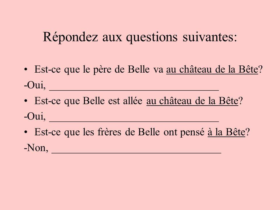 Répondez aux questions suivantes: Est-ce que le père de Belle va au château de la Bête? -Oui, _______________________________ Est-ce que Belle est all