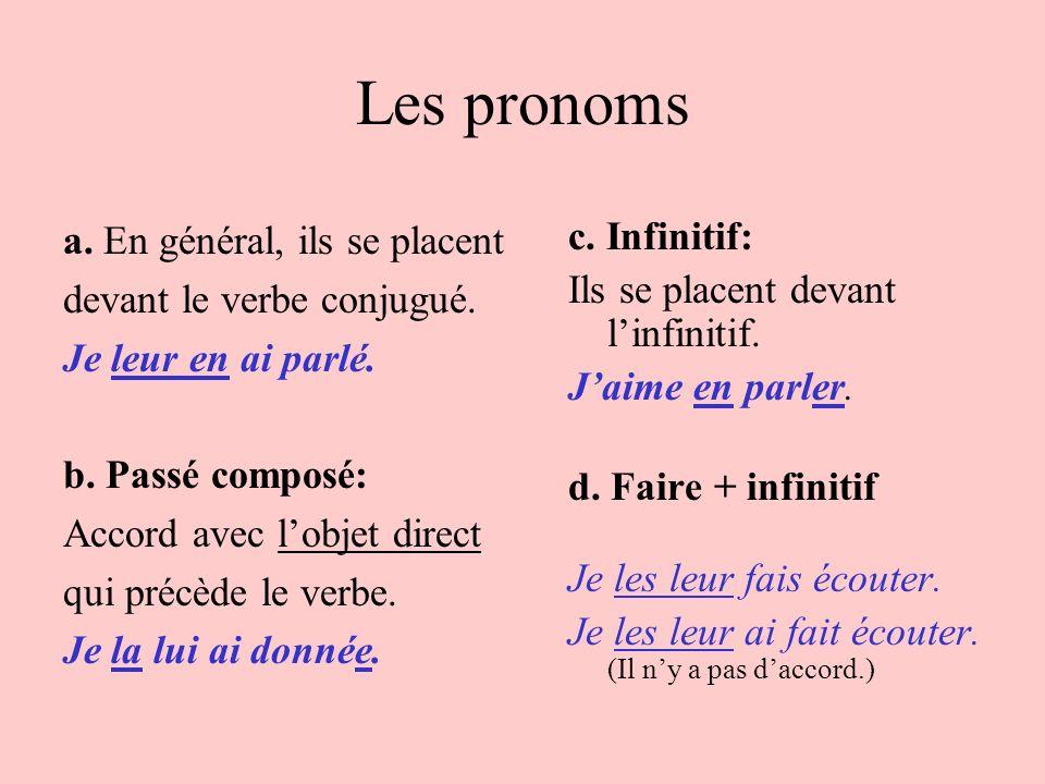 Les pronoms a. En général, ils se placent devant le verbe conjugué. Je leur en ai parlé. b. Passé composé: Accord avec lobjet direct qui précède le ve