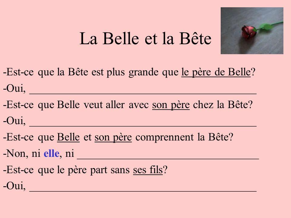 La Belle et la Bête -Est-ce que la Bête est plus grande que le père de Belle? -Oui, ________________________________________ -Est-ce que Belle veut al