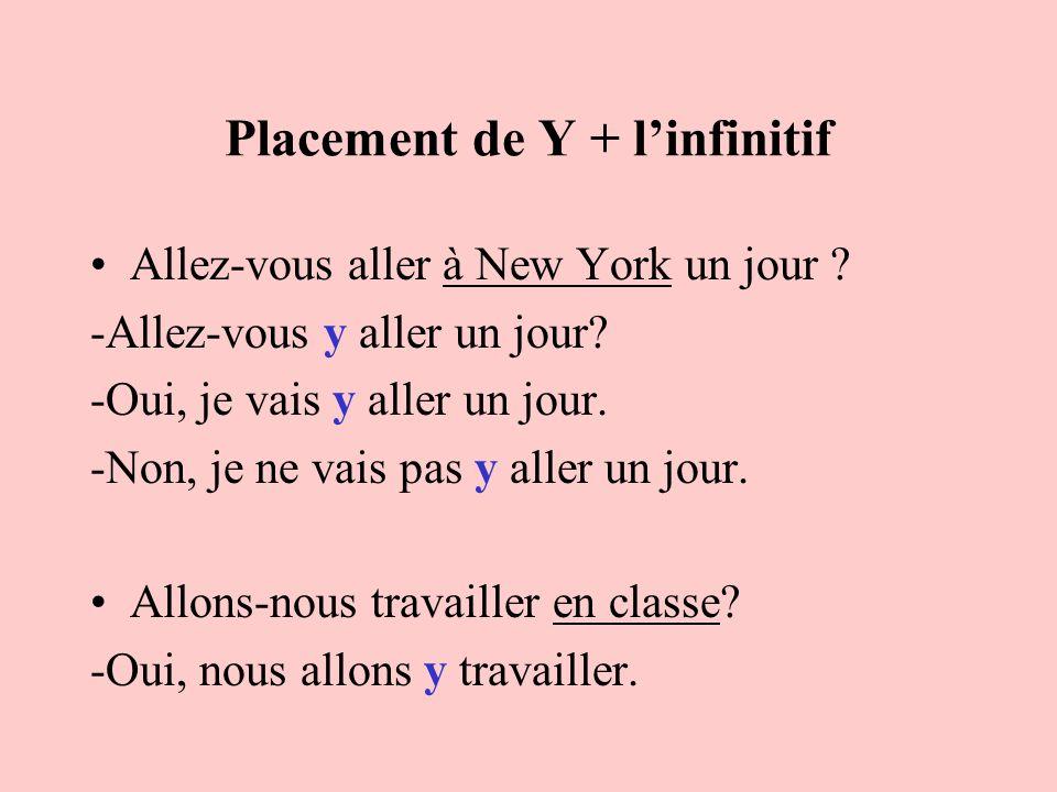 Placement de Y + linfinitif Allez-vous aller à New York un jour ? -Allez-vous y aller un jour? -Oui, je vais y aller un jour. -Non, je ne vais pas y a